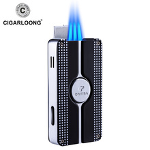 COHIBA Cigar Smoking Lighter Built-in Punch Pocket Metal Windproof Flame 3 Torch Cigarette Fire COB-58