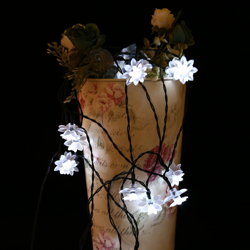High Quality 20 LED Waterproof Lotus Shaped Fairy Light String with Solar Panel Powered For Outdoor Garden Wedding Decoration