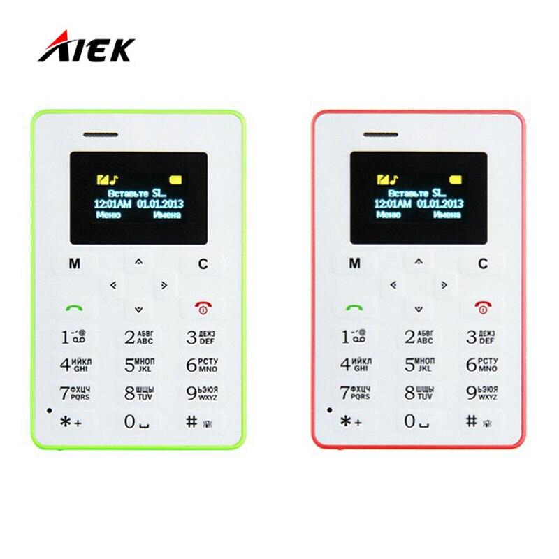 Más caliente mini tarjeta de teléfono aiek m5 pantalla a color de inglés/ruso/ár