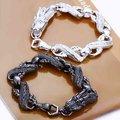 Moda 925 plata de la joyería, cadenas de plata dragón negro, plata pulseras S096