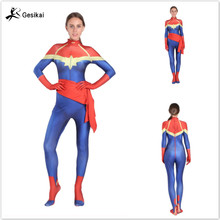 24 Hrs Shipped Out Kids Womens Ms. Marvel Cosplay Costumes Captain Movies Spandex Lycra Bodysuits Halloween