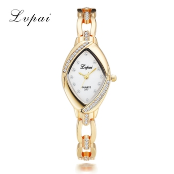 Lvpai Dropshipping Luxury Ladies Bangle Watches for Women Rhombus Cheap Gold Rhinestone Watch Dress Quartz  Wrist Clock Watches