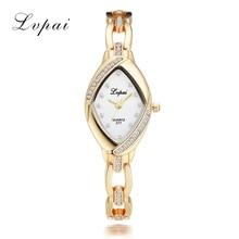 Lvpai High Quality Bangle Watch Thin Oval Rhombus Gold Rhinestone Watch Women Crystal Clock Ladies Wrist Watches Dress Quartz