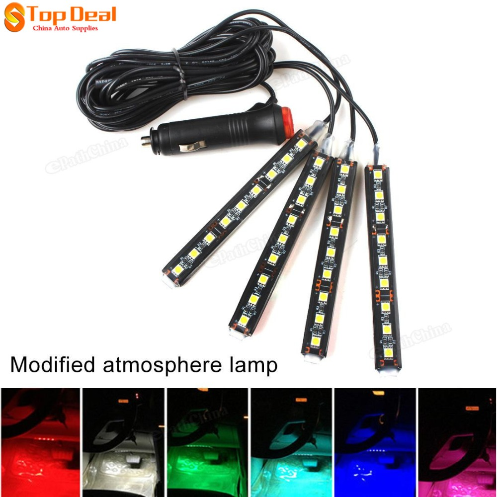 new 4 in 1 9 led atmosphere lights 12v car auto interior decoration light foot lamp bar crystal. Black Bedroom Furniture Sets. Home Design Ideas