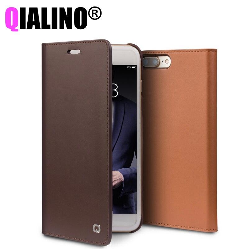 imágenes para Caja Del Cuero genuino para el iphone 7 Accesorios de la Cubierta Del Tirón para el iphone 7 Plus Hecho A Mano Cajas Del Teléfono de lujo Ultra Delgada Funda