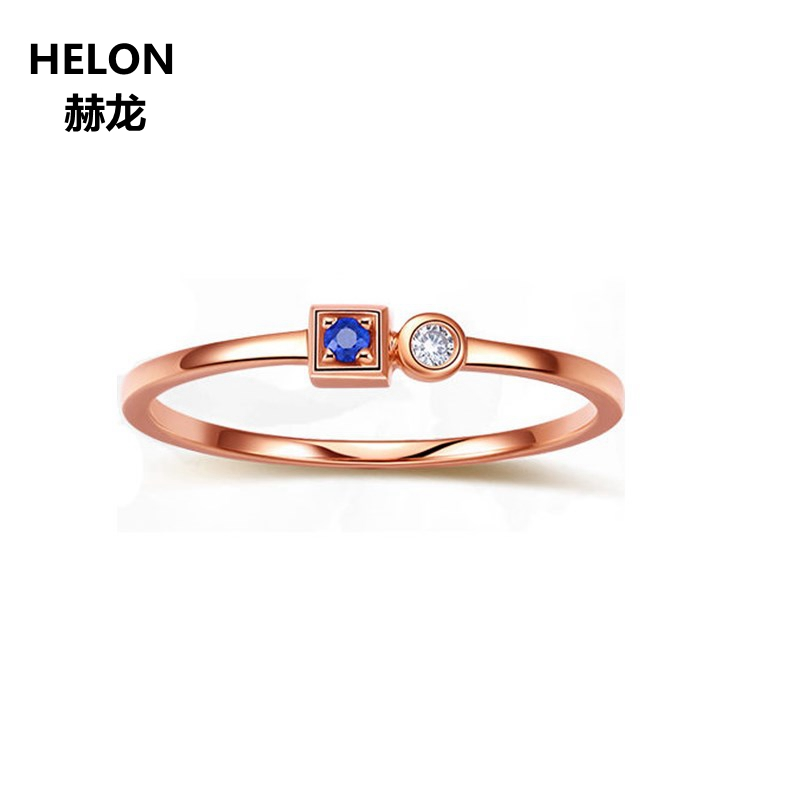 Solid 14k Rose Gold Natural Sapphire Women Engagement Ring Natural Diamonds Wedding Band Fine Jewelry yoursfs® alliance gold 585 blue heart stone promise ring rose gold plated created sapphire turkish jewelry wedding engagement ring