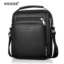 WEIXIER 2019 New Fashion PU Leather Men  Designer High Quality Shoulder Bag Casual Zipper Office Messenger Bags