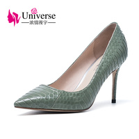 Universe Official Worky Fashion Ladies Genuine Black Pink Green Leather High Heels Pumps Point Toe Sexy