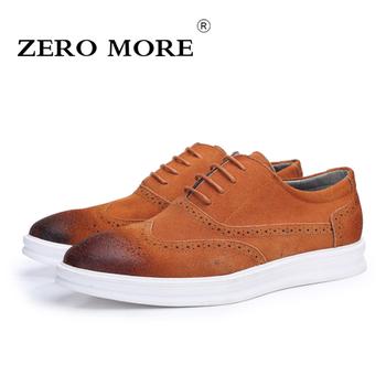 a2432c6b6d3 Hot Deals ZERO MORE New Fashion Mens Brogue Shoes Lace-Up Split Leather Men  Shoes Men s Casual Oxfords Vintage Carved Flats size 38-44