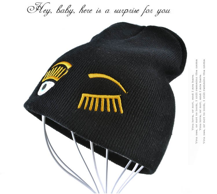 2017 new winter hats for woman striped solid caps girl Knit cap woman eye lashes facial expression beanies gorro 9