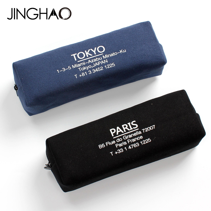 1PC Creative Letter Large Capacity Pencil Bag Brief Style Student Stationery Bag Canvas Pen Case with Zipper School Supplies big capacity high quality canvas shark double layers pen pencil holder makeup case bag for school student with combination coded lock