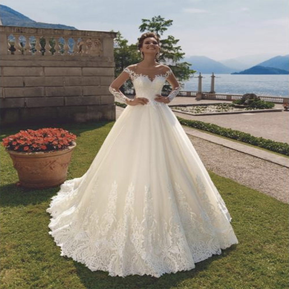 Fansmile 2020 Vestido De Noiva Vintage Long Train Ball Gown Wedding Dress Custom Made Plus Size Bridal Dress FSM-594T
