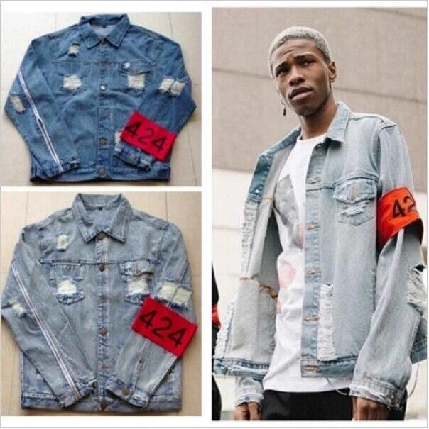 4bbcb8287 Quality Denim jacket men Destroyed hip hop streetwear jaqueta jeans  masculina mens jackets and coats vintage kanye west jacket