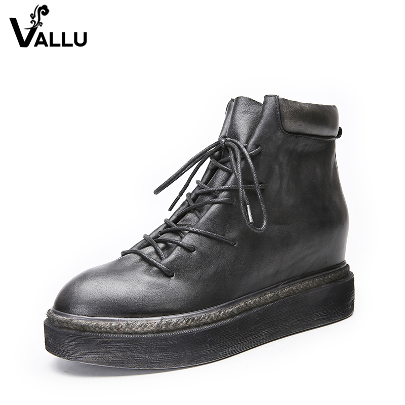 VALLU 2017 Flat Platform Women Boots Lace Up Round Toes Handmade Vintage Shoes Genuine Leather Women Ankle Boots front lace up casual ankle boots autumn vintage brown new booties flat genuine leather suede shoes round toe fall female fashion