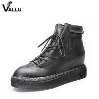 Vallu 2018 plataforma plana mujeres botas LACE up toes ronda zapatos hechos a mano de la vendimia mujeres del cuero genuino botines