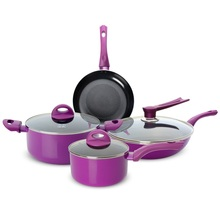 Nonstick cooking pans set purple 7pcs set cooking pots and pans wok soup pot milk pot frying pan
