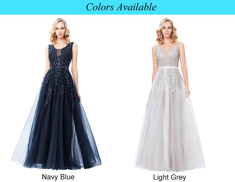 Grace Karin Tulle Appliques Celebrity Prom Dress Sexy V Back Sleeveless Long Royal Blue Robes De Soiree 2017 Longue Prom Dresses 6