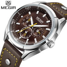 2018 MEGIR Top Luxury Brand Men Watches Man Fashion Quartz Watch Mens Simple Business Wristwatches Male Clock Relogio Masculino
