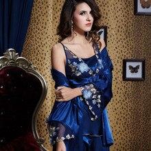 Xifenni Pajama Sets Female Sexy Satin Silk Sleepwear Women L