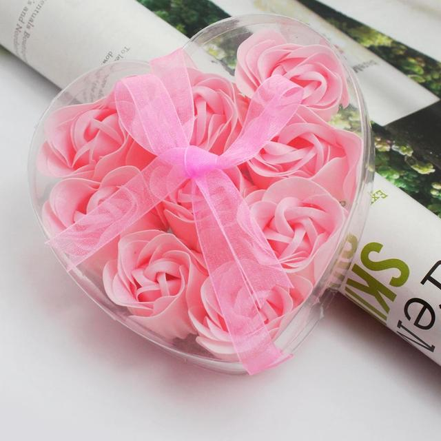 9 PCS Bath Body Heart Rose Petal Party Gift Favor Flower Scented Pink Soap in Heart Box Wedding Decoration Gift Best For Lovers