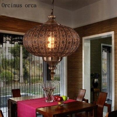 Mediterranean Retro LED Iron Chandelier Living Room Restaurant Bar Southeast Asian Exotic Chandelier  Free Shipping