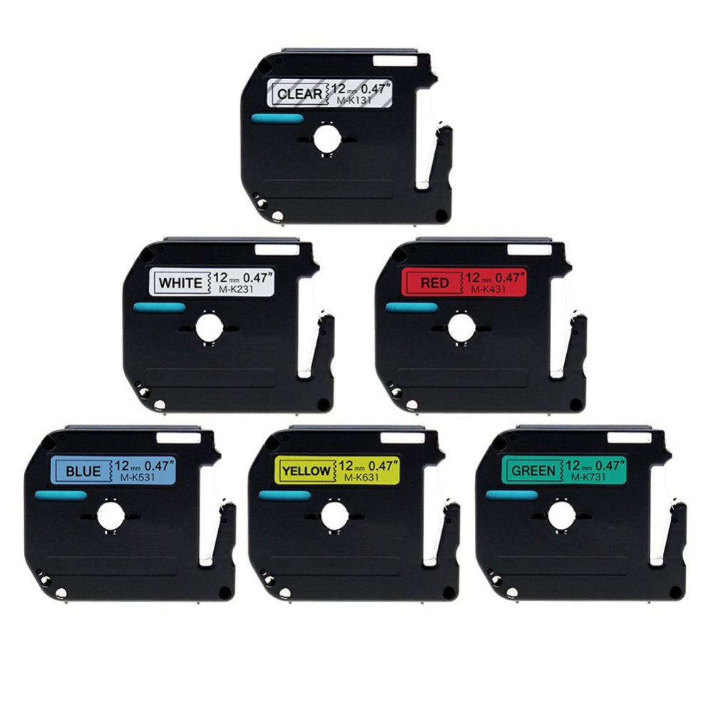 6 Pack Compatible Brother P-touch M Label Tape Combo Set M131 M231 M431 M531 M631 M731 for Brother P Touch Label Maker PT-90