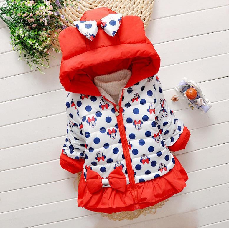 Children Kids Baby Jacket Autumn And Winter Girl Overcoat Baby Cartoon Coat Cotton-padded Clothes