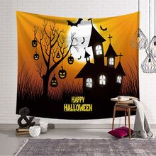 Tapestry Halloween Pumpkin Trick Horror Ghost Party Carpet Wall Hanging Tapestry For Wall Decoration Fashion Style New Year pumpkin lamp wall art halloween tapestry
