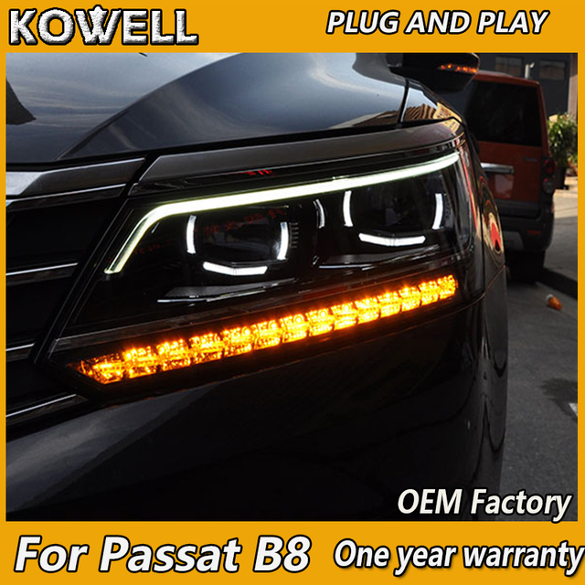 kowell car styling for vw passat b8 headlights 2016 2018. Black Bedroom Furniture Sets. Home Design Ideas