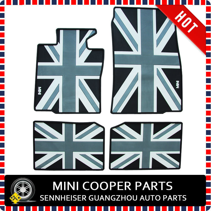 Brand New Rubber Material All Black Union Jack Style Foot Mat For