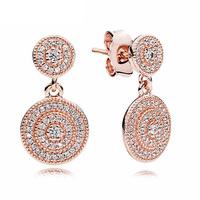 Authentic 925 Sterling Silver Earring Rose Radiant Elegance Hanging Earrings For Women Wedding Gift Fine Pandora