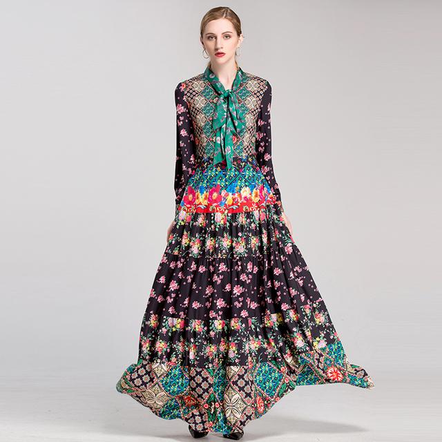 Colorful Floral Print A-Line Long Dress