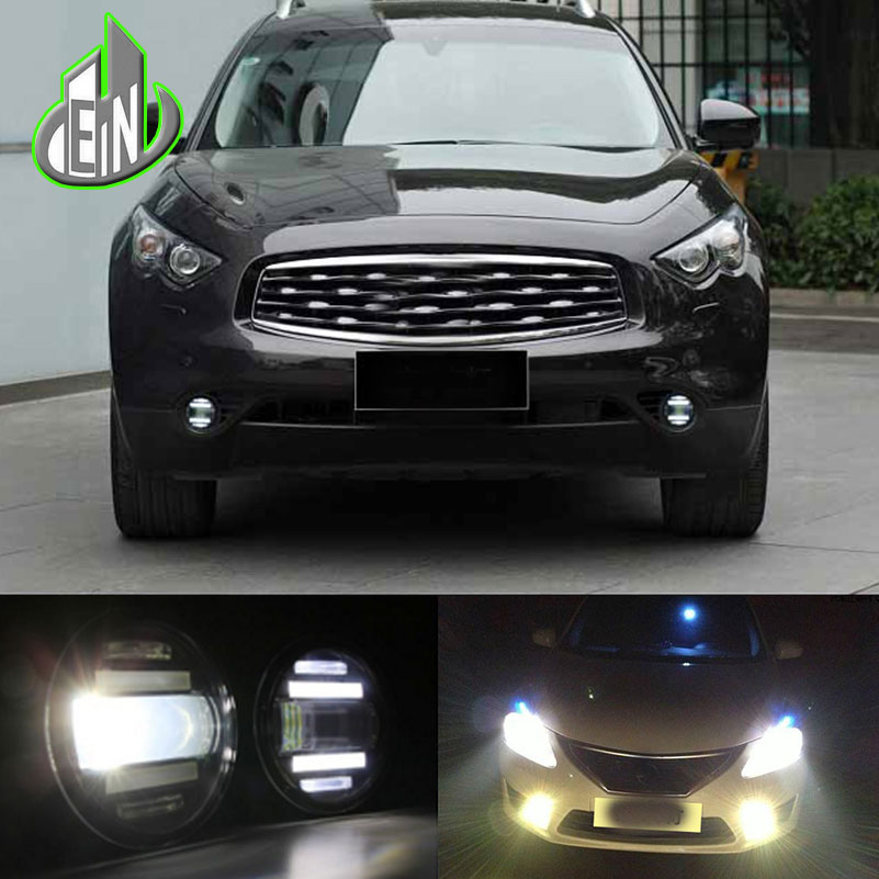 Car Styling Fog Lamp For Nissan PATROL Murano Quest Pathfinder LED Fog Light Angel Eye Fog Lamp LED DRL 3 function model for nissan patrol y62 armada accessories original design fog lamp with chrome fog light cover