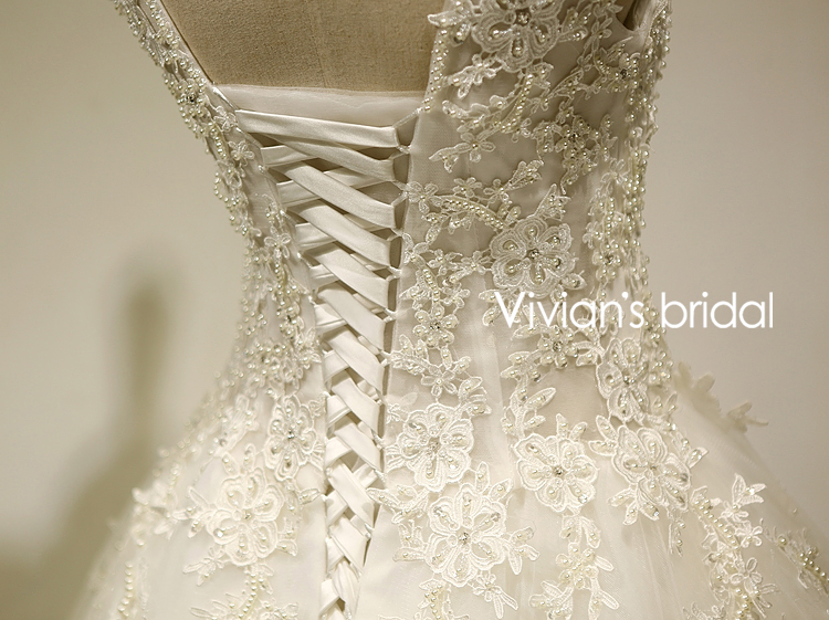 Vivian's Bridal În stoc Real Photo A-Line Scoop Gât Lace Up Sweep - Rochii de mireasa - Fotografie 4