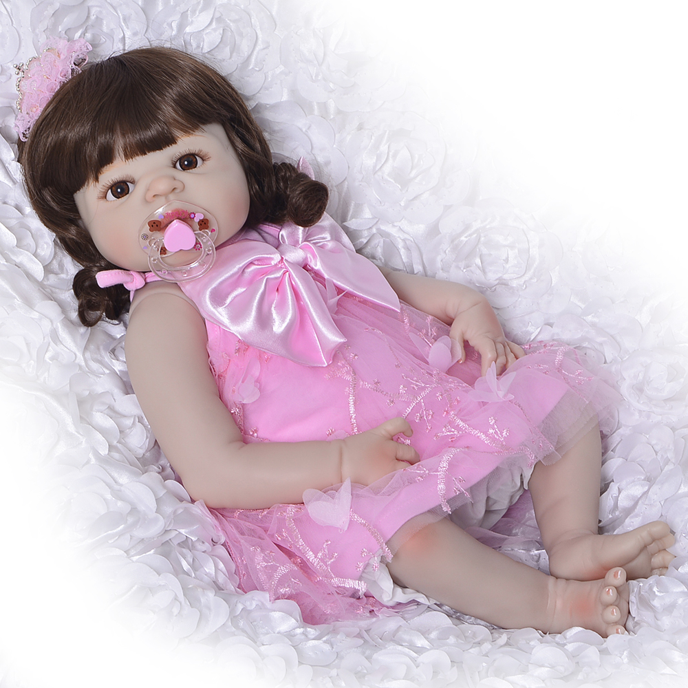 57 cm Reborn Dolls Full Silicone Vinyl 23'' Girl Realistic Reborn Babies Toys For Christmas Gifts Lifelike Princess Newborn Doll christmas gifts in europe and america early education full body silicone doll reborn babies brinquedo lifelike rb16 11h10