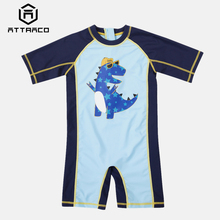 Attraco One-Piece Baby Boys Swimwear Fish Printed Rashguard Swimsuit Child Long Sleeve Rash Guard UPF 50+ Cute Beach Wear