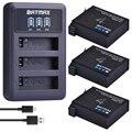 Batmax 3Pc für Gopro 4 1680mAh AHDBT 401 Batterie + LED 3 Slots USB Ladegerät für Gopro Hero 4 action kamera Zubehör-in Digitale Batterien aus Verbraucherelektronik bei