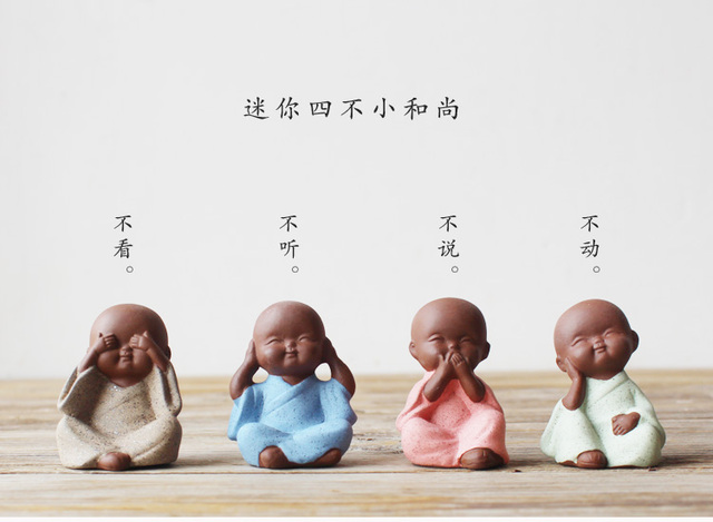 4PCS # TOP Marvellous ART # Spiritual realm OFFICE home CHAN DAO Little Monk sand-fired kiln porcelain pottery ceramic ART