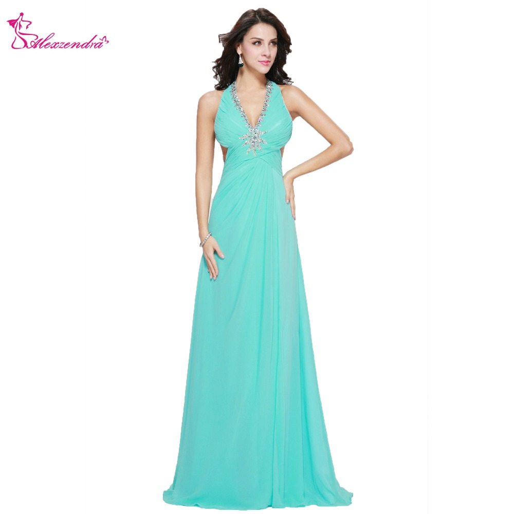Alexzendra Beaded Crystal Blue Halter UP Backless Prom Dresses Plus Size Evening Dress Party Dress for Girls
