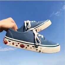 Ulzzang Woman Canvas Shoes Flat Platform Loafers Vulcanize