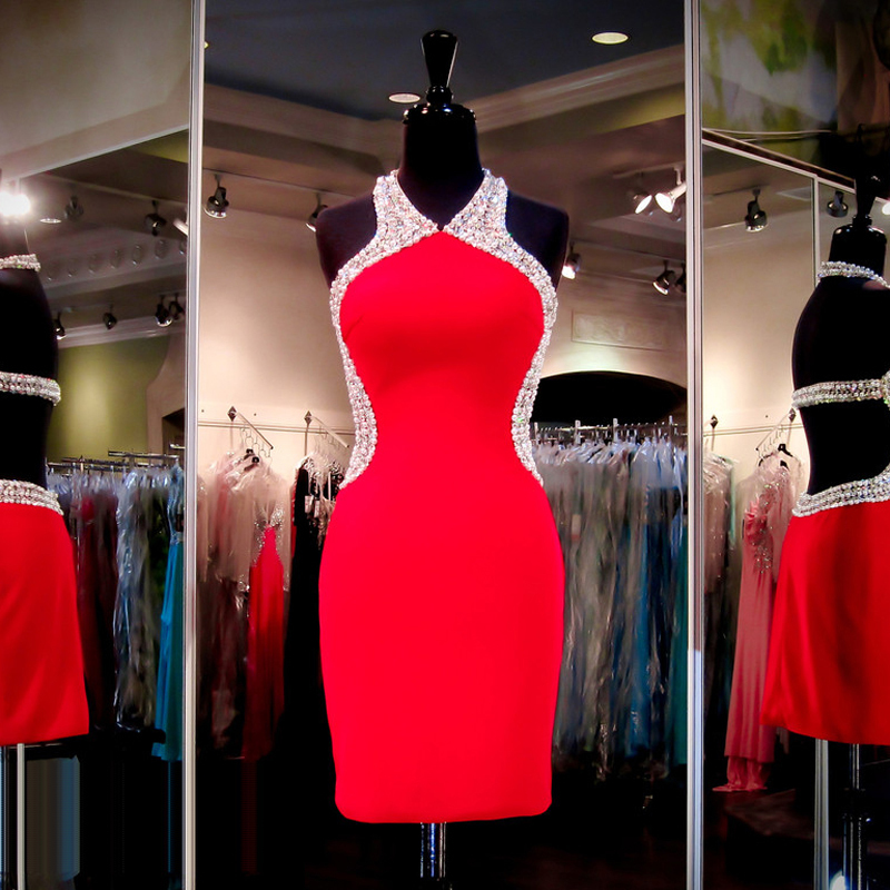 6bfbb7ec958 Sexy Short Red Homecoming Dresses Halter Beaded Pearls Sequins Tight Sheath  Backless Mini Prom Party Dress 2016 Custom Made