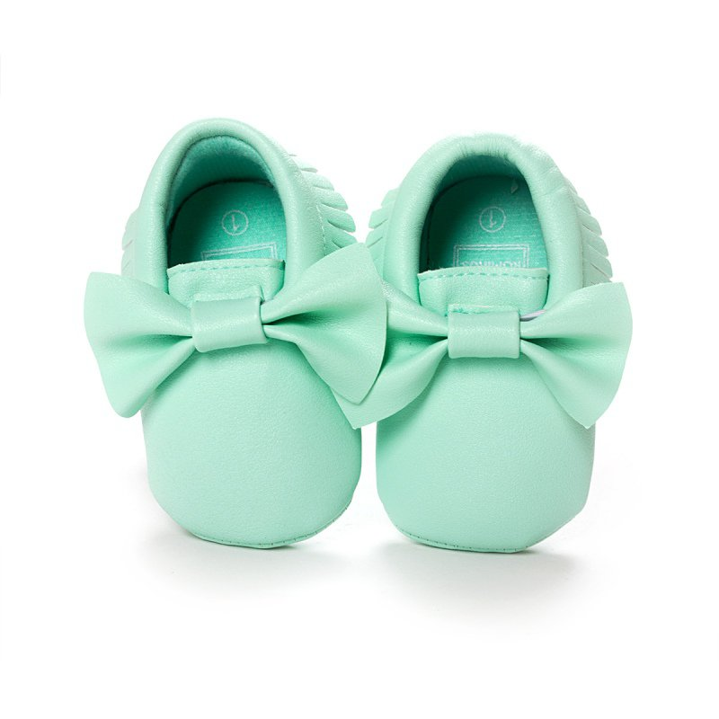Cute Infant Baby Kids Casual PU Prewalker Anti-Slip Walkers Girls Tassel Bowknots Brand Shoes 0-18 Months