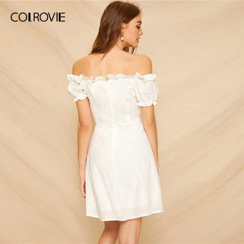 COLROVIE белый с открытыми плечами кружево до жабо Boho мини платье для женщин Лето 2019 г. короткий рукав корейский стиль трапециевидной формы