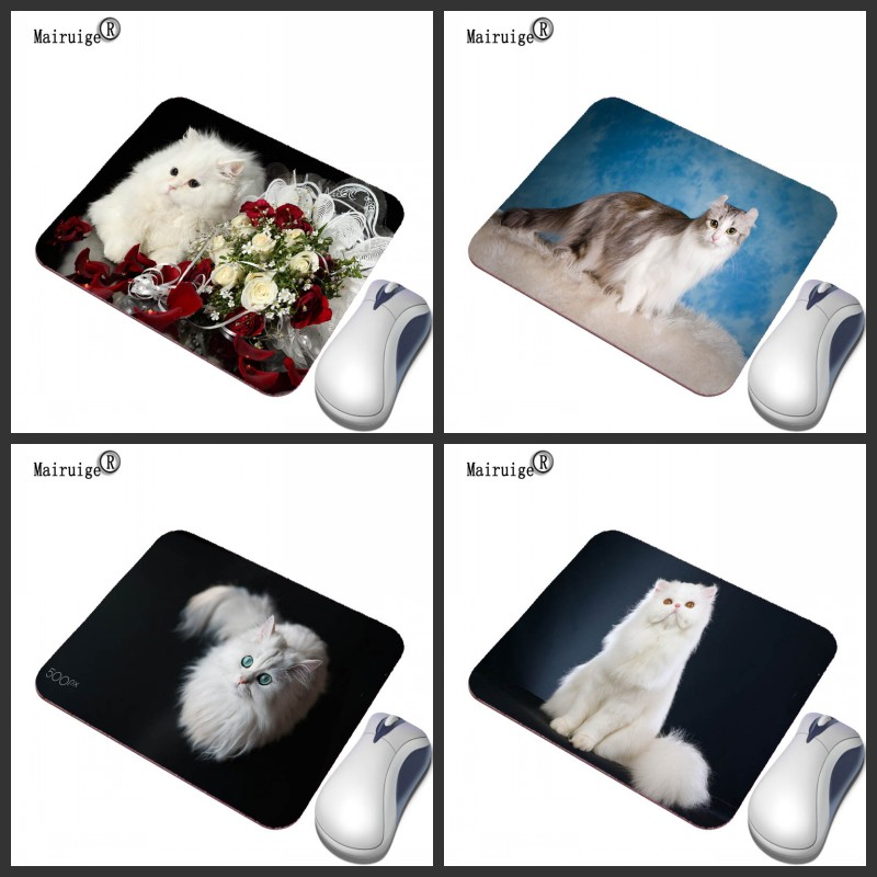 Mairuige White Persian Cat Cute Animal Game Mouse Pad PC Computer Rubber Non-slip Keyboard Mouse Speed Control Pad For DOTA2
