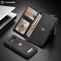 CASEME For Samsung Galaxy S8 Plus G955 Metal Clip Wallet Retro Split Leather Shell Detachable Inner