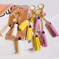 Flower  Metal Keychain Bag Pendant Car Ornaments Creative Gifts Bag Leather Charm Tassel Fringes Key Chain Buckle Key Ring F10