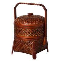 Bamboo Vintage Picnic Basket Handmade Tea Set Box Organizer Hand woven Storage Holder Traditional Gift Chinese Style