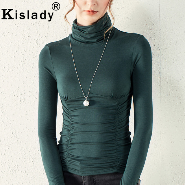 bcdc8c0556f Kisaldy New Women s Turtle Neck Slim Bottom Shirt 2018 Spring Casual Long  Sleeve Black Green Sexy Flexible Tops XXXL Plus Size