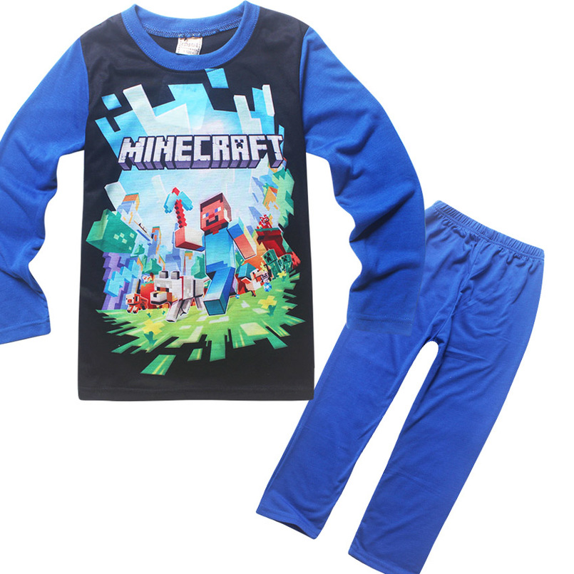цена на Minecraft spring and summer cartoon children's wear long-sleeved T-shirt + casual pants home service boy girls pajamas clothing