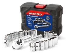WORKPRO 24PC Car Repair Tool Set Torque Wrench Sockets Set 3/8″ Ratcheting Handle